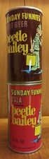 2 SUNDAY FUNNIES beetle bailey COLA & ROOT BEER 12oz CANS empty & RUST free NICE