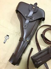 """Luger P-08 8"""" inch Artillery Holster w. Stock Straps BROWN LEATHER Takedown Gift"""