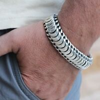 Men's Biker Heavy Wide Bracelet Solid 925 Sterling Silver Size 7 7.5 8 8.5 9 10