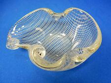 Rare Fratelli Toso Murano Filigran Netz  glass bowl ashtray Aschen Glas Schale