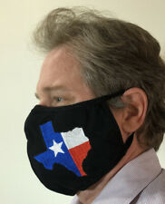 3 pack Xl Extra Large Texas Flag Embroidered Black Face Mask Cotton Washable