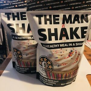 2 x The Man Shake BIRTHDAY CAKE Limited Edition New UNOPENED Weight Loss