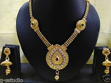 Wedding wear gold plated kundan Necklace set Bridal Jewellery with jhumka earrin