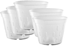 Yikush 5.5 inch 5 Pack Orchid Clear Flower Pot Plastic Planter Breathable Slotte