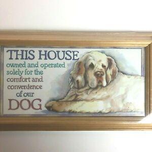 Vintage 1992 Figi Wood Framed Hanging Wall Art Dog Pet Home Decor Made in USA
