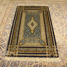 YILONG 3'x5' Rose Handmade Silk Carpet Blue Hand Knotted Floral Rug H048A