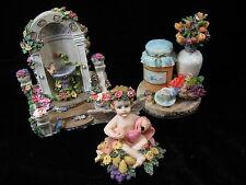 New listing Lot 3 composite Figurines floral angel cherub garden still life flowers Perfect!