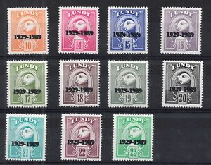 Lundy Islands. 1989. Set x 11 Definitives with unlisted double overprint error.