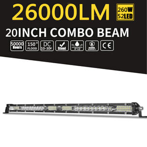 20inch CREE LED Light Bar Combo Work Driving Light 260W 260000LM 12V 24V 4WD