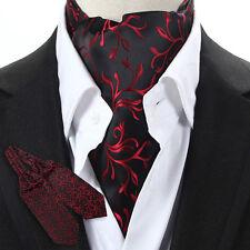 LJ09-03 Luxury Red Floral Men 100% Silk Ascot Tie Cravat Scarf Accessory Ties
