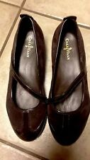 Cole Haan Nike Air Ballet Flats / Mary Jane - Brown Suede & Patent-Size 5 B (M)