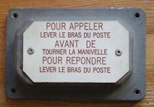 SNCF PLAQUE   POUR TELEPHONE DE QUAI DE GARE OU DE VOIE