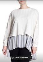 Mello Day NEW Womens Blue White Plus Size Tunic Striped Shirt 2-fer Size 2X $62