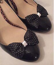 Polkadot shoe Clips 4 Scarpe Nero Bianco a Pois Fiocchi 1950s Vintage Pinup Retrò