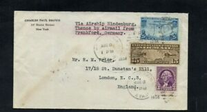 1936 AIRSHIP 'HINDENBURG' ATLANTIC FLIGHT COVER. NEW YORK-FRANKFURT-LONDON.