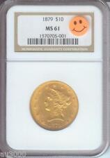 1879 ( 1879-P ) $10 Liberty Eagle Ngc Ms61 Gold Coin Ms-61 Scarce Date P.Q. !