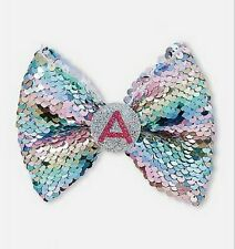 """New Justice Sequin Initial Hair Bow """"A"""" """"S"""""""