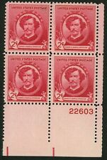 1940 2c US Postage Stamps Scott 885 James McNeill Whistler Block of 4