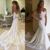 2019 Spaghetti Straps Wedding Dresses Mermaid Bridal Gowns Sleeveless Backless