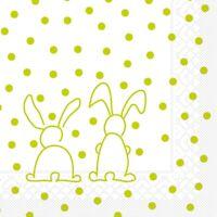 20 Serviette Rabbits in Kiwi aus Tissue 33 x 33 cm - Ostern Hasen Kaninchen