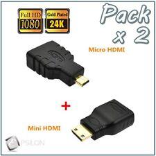 Adaptador MICRO HDMI a HDMI  +  Adaptador MINI HDMI a HDMI Pack x2