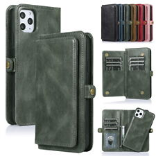 For iPhone 11 Pro Max XS XR 8 7 Removable Leather Wallet Card Pocket Case Cover