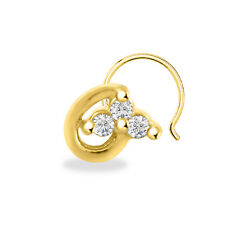 Silver Three Stone Women'S Nose Pin Round Cut 14K Yellow Gold Finish Sterling