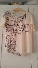 Promod T-shirt Bluse Gr. 34 beige gemustert