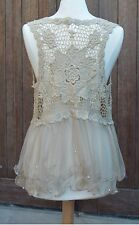 Boho Chic Taupe Lace Womens Vest