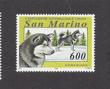 Dog Art Head & Body Portrait Postage Stamp Alaskan Malamute San Marino 1994 Mnh