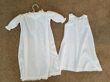 Antique Vintage Christening Baptism Gown Dress with Under Slip ~ White Cotton