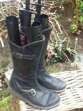 WOMENS FLY LONDON MES BLACK CLASSIC LEATHER FASHION ZIP BOOTS Size 3 uk, 36 euro