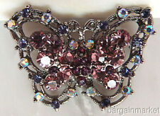 Sparkling AB Amethyst Crystal Butterfly Pin Brooch