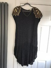 VINTAGE 80's FRANK USHER BEADED FLAPPER DRESS SIZE 16 WITH BEADS & GOLD DETAIL