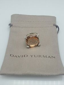 David Yurman 20mm Cushion on Point Ring with Morganite and Diamonds size 8