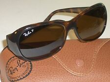 RAY BAN RB4061 TORT BROWN SHADE POLARIZED GLASS LENS WRAP SUNGLASSES SUPERB!!!