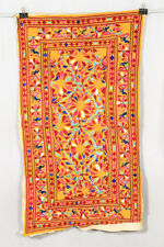 OLD BANJARA INDIA EMBROIDERY ETHNIC FOLK LARG RABARI THROW WALL DECOR TAPESTRY