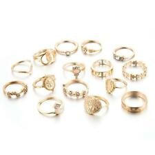 15 Teile/satz Gold Midi Fingerring Set Vintage Punk Boho Knuckle Ringe Schm G8S6