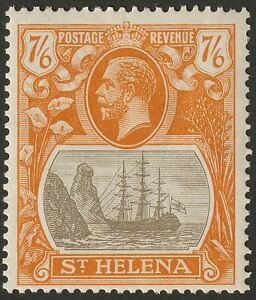 St Helena 1922 KGV 7sh6d Grey-Brown and Yellow-Orange Mint SG111 cat £150 bend