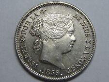 1859 MADRID 1 REAL SPAIN ISABEL II PLATA SPANISH PLATA SILVER .