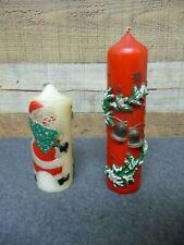 "2 - Vintage Christmas Pillar Candles 6"" & 9"""