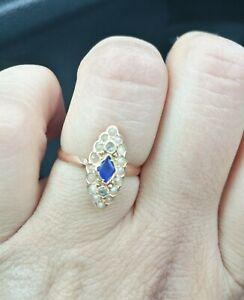 Ravissant Bague Marquise Ancienne /Or Rose18K pierres Perles /Style Victorien