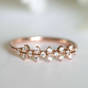 Cluster Ring Sterling Silver Half Eternity Stacking Ring Rose Gold Wedding Band