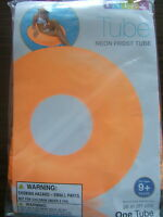 """INFLATABLE Swimming Pool NEON FROST ORANGE TUBE RING 36"""" INTEX Pool Float NEW"""