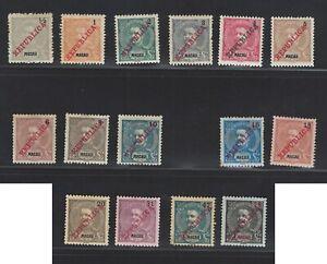 Portuguese Macau Stamps | 1911 | D. Carlos I REPUBLICA | MH #149-157+159-164