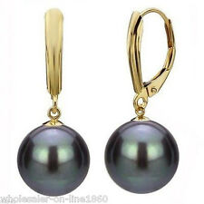 12MM Black south sea shell pearl 14K Gold Plated Dangle earrings AAA
