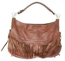 B. Makowsky Women's Brown Leather Fringe Bag Handbag Shoulder Hobo Slouch VGUC