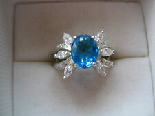 ESTATE BOLD STERLING SILVER BLUE TOPAZ OR CZ RING 4.7 GR SIZE 7 FLOWER