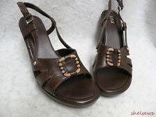 "NEW A.N.A. Brown Leather Sandals 4"" Heel 1"" Platform 11M"