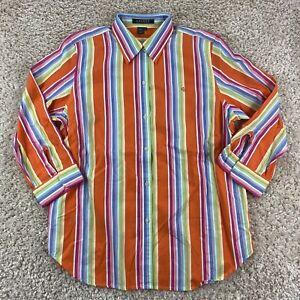 lauren ralph lauren mens large 3/4 sleeve multicolor striped button up shirt